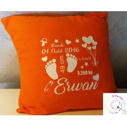 Coussin de Naissance orange Evy Dream Creation