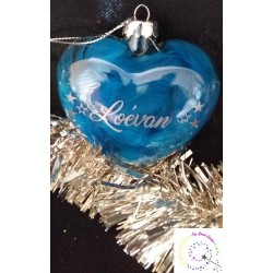 Coeur de Noël en verre personnalisé