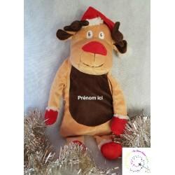Peluche 2 en 1 Renne de Noël bouillotte/range pyjama