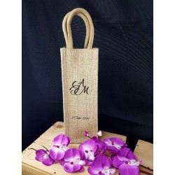 Sac bouteille jute Mariage initiales
