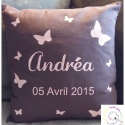 Coussin anthracite motif Fille