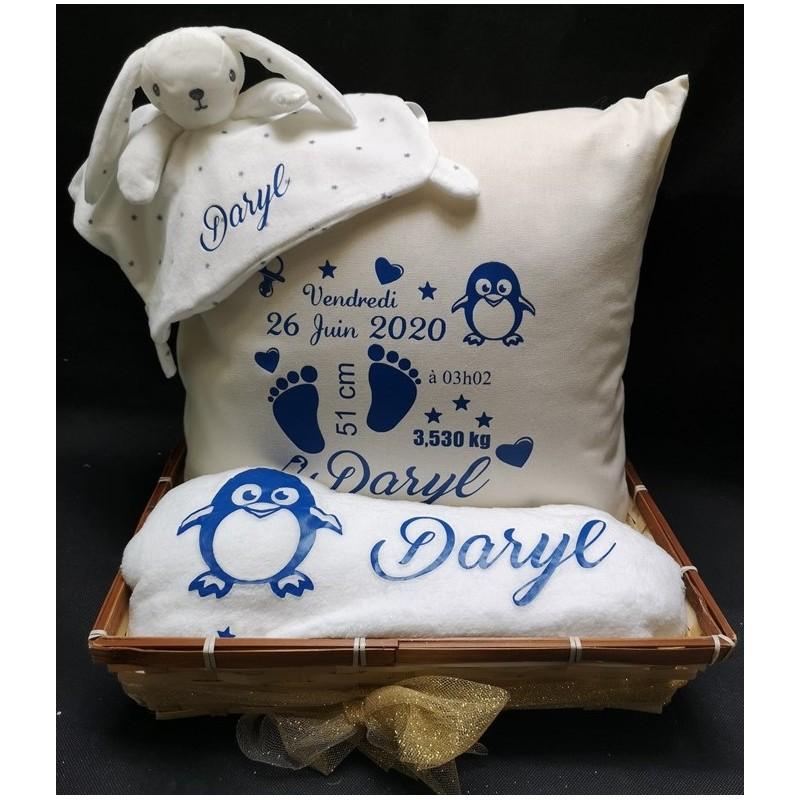 Coffret naissance bébé cocooning personnalisé par Evy Dream Creation
