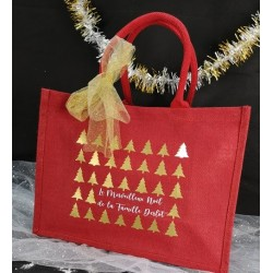 Cabas Noël rouge en jute personnalisé par Evy Dream Creation