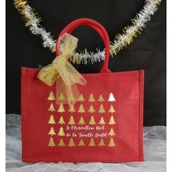 Cabas Noël rouge en jute personnalisé par Evy Dream Creation